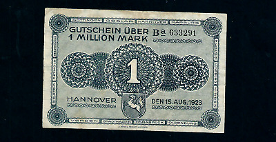 Notgeld  Germany  Hannover- 15 August 1923 - 1 Million Mark //889
