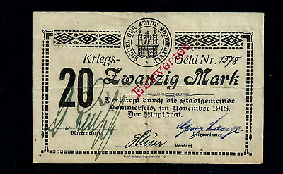 Notgeld  Germany Sommerfeld -  November 1918 -  20 Mark //884