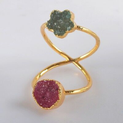 Size 6.5 Pink & Blue Agate Druzy Twisted Full Finger Ring Gold Plated H129261
