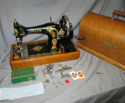NICE Serviced Antique 1926 Singer 128 Hand Crank Sewing Machine Video Oak Case