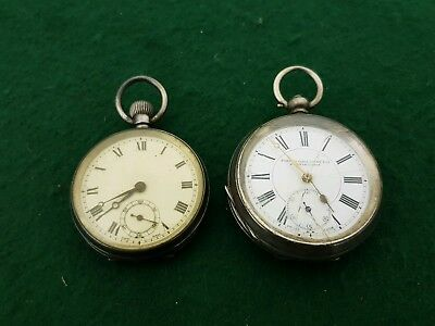 Pair of Antique Solid Sterling Silver Cased Swiss Made Pocket Watches WHS & GS
