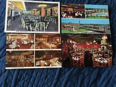Lot of 4 restaurant interior postcards, Wash DC, 3 IL/Rockton/Hinsdale/Joliet