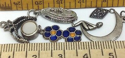 LOT OF (5) VINTAGE STERLING SILVER CHARMS MEKA DENMARK, SHIP, M.O.P. 6.4g. (E18)