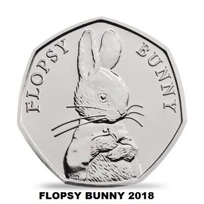 2018 Flopsy Bunny 50p  FIFTY PENCE BEATRIX POTTER,  UNCIRCULATED.,,
