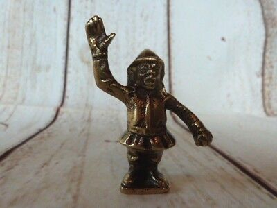 Lovely Small Novelty Antique Figurine Solid Brass Monkey Dressed As A Policeman.