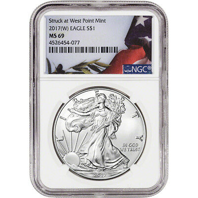 2017-(W) American Silver Eagle - NGC MS69 - Flag Label