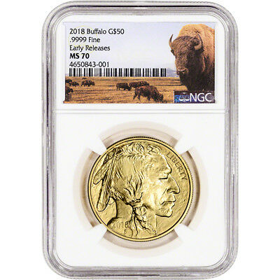 2018 American Gold Buffalo (1 oz) $50 - NGC MS70 Early Releases Bison Label