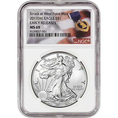 2017-(W) American Silver Eagle - NGC MS69 - Early Releases - Purple Heart