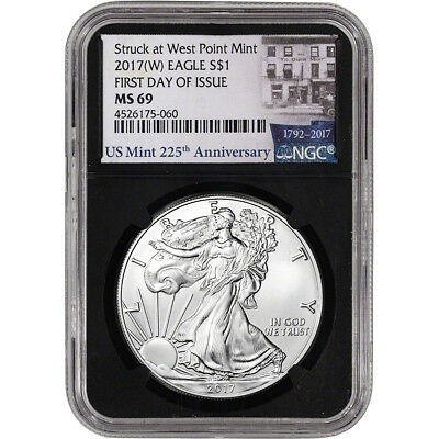 2017-(W) American Silver Eagle - NGC MS69 - First Day of Issue 225th Ann Black