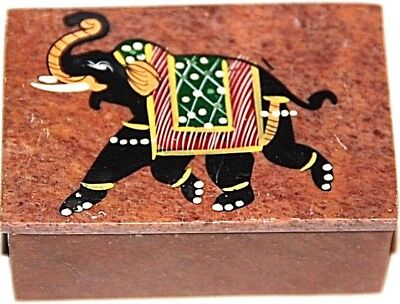 Elephant trinket box hand painted hand carved ring box elephant box trunk up
