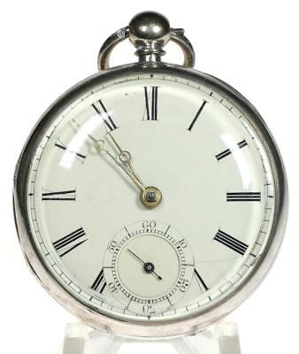Solid sterling silver English fusee lever pocket watch 1858 for repair