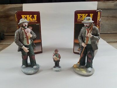 2 Emmett Kelly Jr. Figurines by Flambro  9890B 9890F  Signature Collection