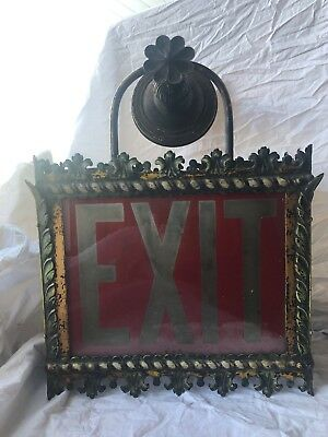 RARE French ANTIQUE Victorian Style Iron Metal Royal THEATER EXIT Light Sign
