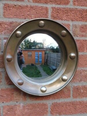 Lovely Vintage Art Deco Brass & Convex Glass Port Hole Wall Mirror.
