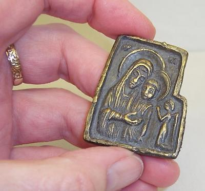 Ancient SOLID BRONZE Small RELIGIOUS ICON Relic BYZANTINE/OTTOMAN Attic Find