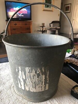"Vintage Large Heavy Galvanized Farm Pail Bucket with Handle - 12"" Dia. Dover"