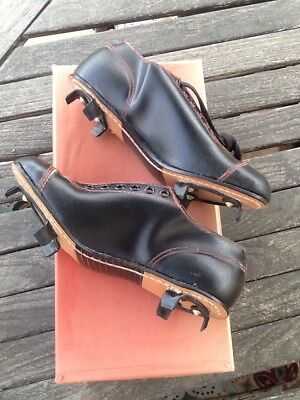 Vintage Old Antique 1950's ALL Black Leather AWESOME Baseball Cleats W/t Box NOS