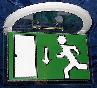 RUNNING MAN EXIT SIGN for fitting to a downlight, bezel included, 225x140mm sign