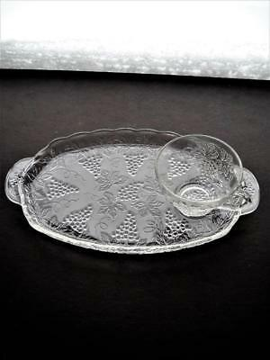 Set Of Anchor Hocking Vintage Grape Snack Plate And Cup - Excellent Coindition