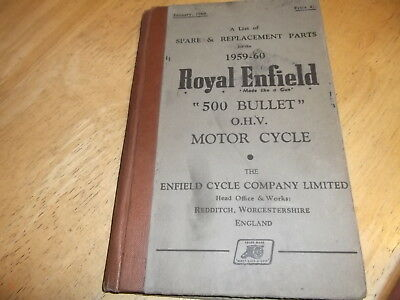 Royal Enfield 500 Bullet Ohv Spare & Replacement Parts Book 1959 1960 Catalogue