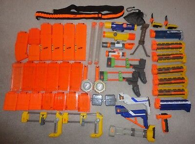 Lot Of 50 Nerf Gun Attachments & Accessories Clips Magazines Scopes Barrels ++