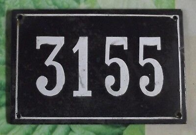 Large old black French house number 3155 door gate wall plate enamel metal sign
