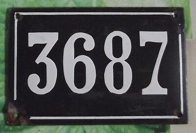 Large old black French house number 3687 door gate wall plate enamel metal sign