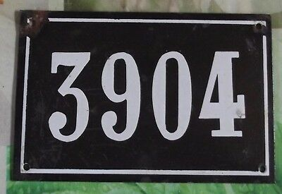 Large old black French house number 3904 door gate wall plate enamel metal sign