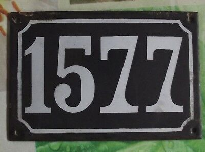 Large old black French house number 1577 door gate wall plate enamel metal sign