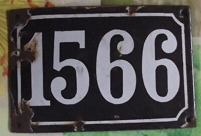 Large old black French house number 1566 door gate wall plate enamel metal sign