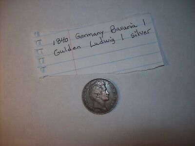1840 Bavarian 1 Gulden Fine Coin