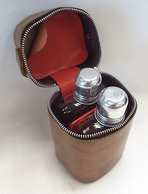 Pair Of Vintage GLASS HIP FLASKS In Brown Carry Case - C25