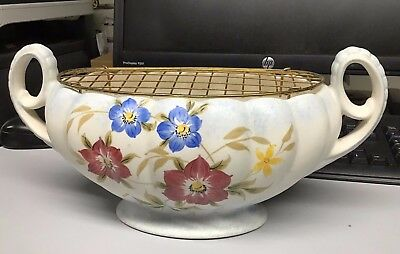 H J Wood Burslem Pottery Rose Bowl Posy Bowl Vase Planter with metal bit floral
