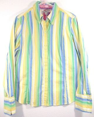 76627745a Tommy Hilfiger Womens Large Long Sleeve Striped Button Down Shirt Blouse Top