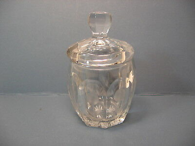 Antique Cut Crystal Jam Or Mustard Jar With Etched Decoration And Lid