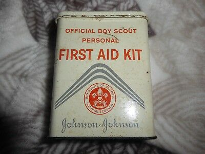Vintage Johnson & Johnson Boy Scout First Aid Band Aid Size Tin W/ Some Contents