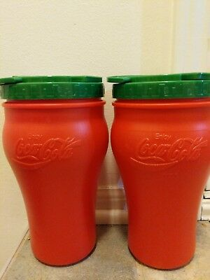 2 Old School Coca Cola RED & Green Large Plastic Travel Drink Mug Tumbler