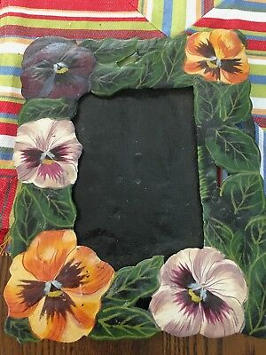 "Vintage Hand Painted Metal Photo/ Picture Frame  11"" X 9""  for photo 4"" X 6"""