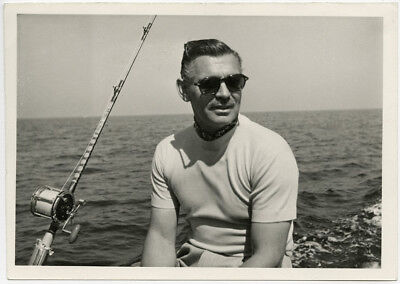 Clark Gable in Sunglasses Deep Sea Fishing Vintage 1950s Posed Candid Photograph