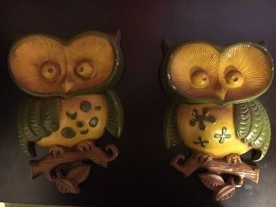 Vintage 2 Pair Of Owl Wall Hangings Cast Metal SEXTON USA 1970 70s Hippie Decor