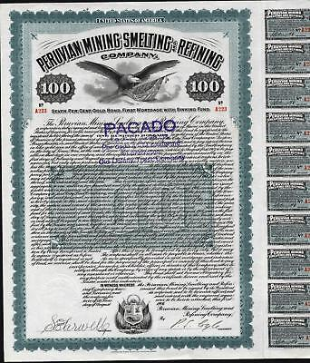 $100 Peruvian Mining Smelting And Refining Co., 1909, With 16 Coupons