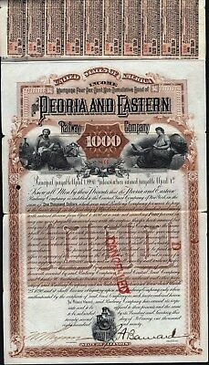 $1000 Peoria And Eastern Railway Co Income Bond, 1890 + 22 Coupons, Cancelled Bd
