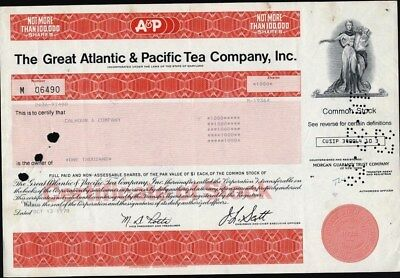 Great Atlantic & Pacific Tear Co, Inc., Iconic Stock Certificate