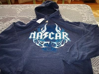 Brand New Blue Nascar Size Extra Large Xl Flame Hoodie Shirt With Pockets!