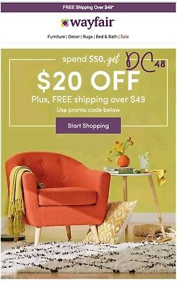Wayfair $20 off $50 COUP0N—FAST AFTER PAYMENT!
