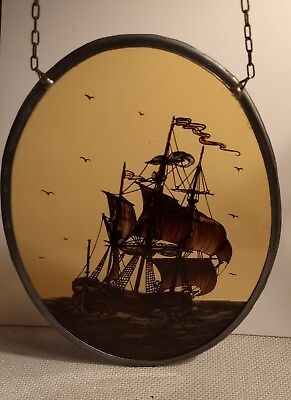 Antique Hand Painted Stained Leaded Glass Window Panel Dutch Ship