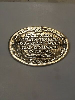 Brass Kindly Flush Toilet Sign Pullman Standard Company Railroad