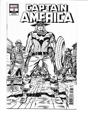 Captain America #3 (2018) 1:100 Kirby Remastered Black & White Sketch Variant
