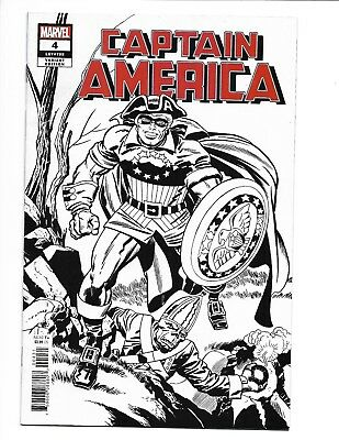Captain America #4 (2018) 1:100 Kirby Remastered Black & White Sketch Variant