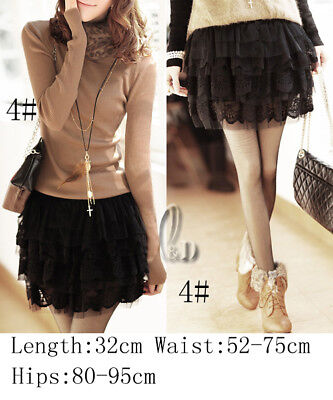 AU SELLER Ballet Dance Party 5 Layered Lace Tulle Tutu Black Mini Skirt dr004-4